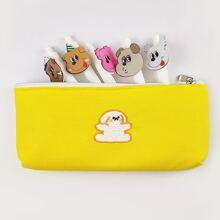 Bolsa de lapiz con bordado de dibujos animados
