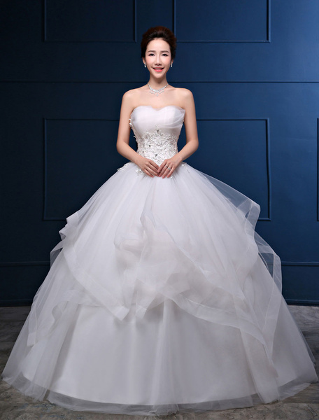 Milanoo Strapless Wedding Dress Ivory Princess Ball Gowns Lace Applique Rhinestones Beaded Ruffles Floor Length Bridal Dresses