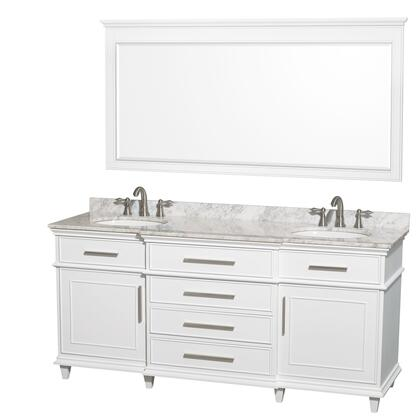 WCV171772DWHCMUNRM70 72 in. Double Bathroom Vanity in White with White Carrera Marble Top with White Undermount Oval Sinks and 70 in.