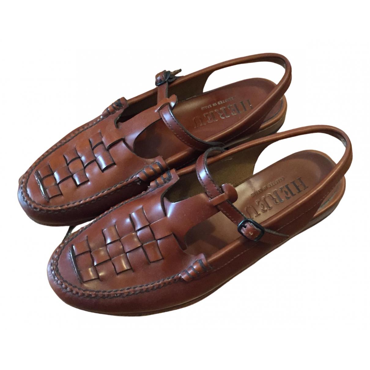 Hereu - Sandales   pour femme en cuir - marron
