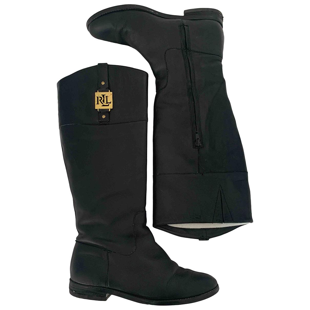 Lauren Ralph Lauren \N Black Leather Boots for Women 37 EU