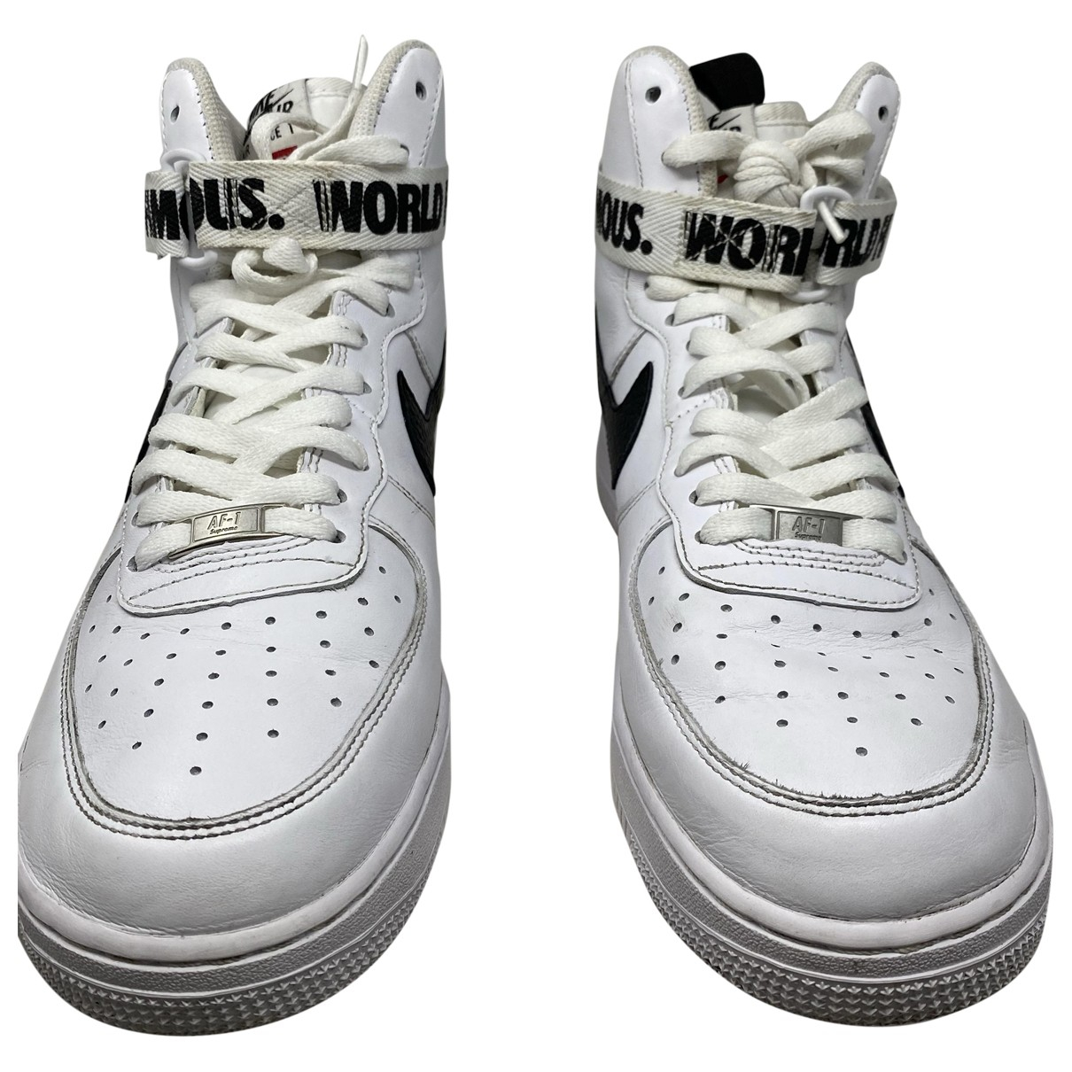 Nike X Supreme - Baskets Air force 1 High World Famous pour homme en cuir - blanc