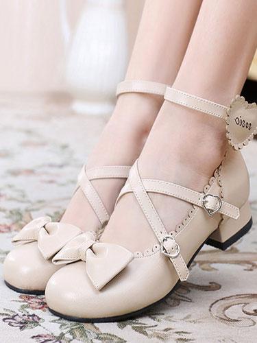 Milanoo Sweet Lolita Shoes Round Toe Chunky Heel Bows Cross Cross White Lolita Shoes