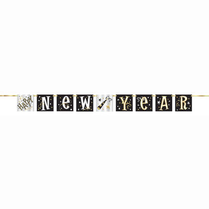 Happy New Year Block Banner, 5ft
