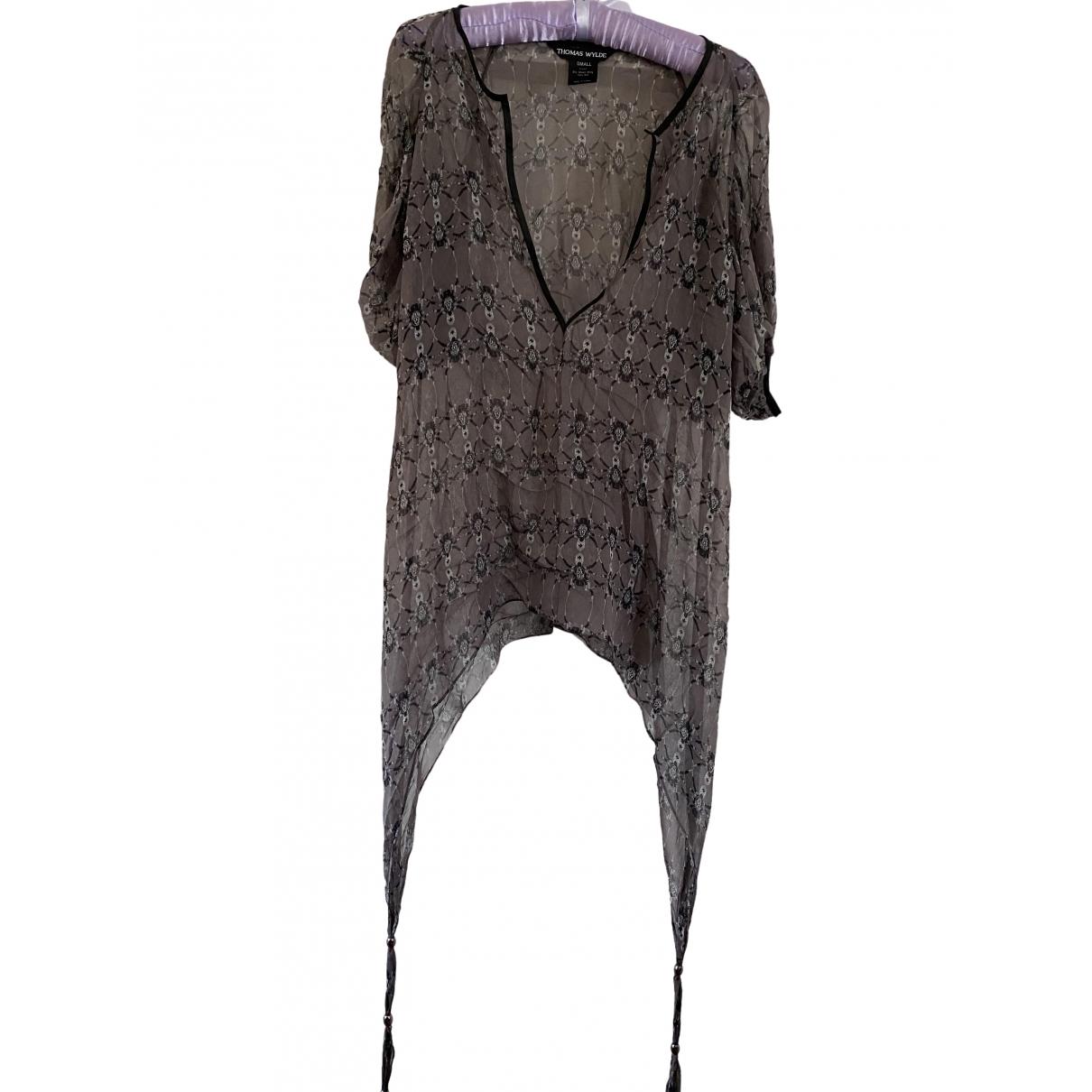 Thomas Wylde - Top   pour femme en soie - gris