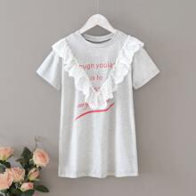 Kleinkind Maedchen T-Shirt Kleid mit Raffungsaum und Buchstaben Muster