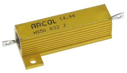 Arcol HS50 Series Aluminium Housed Axial Wire Wound Panel Mount Resistor, 220mΩ ±5% 50W (20)
