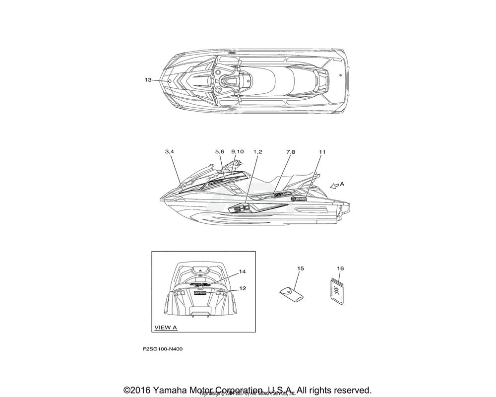 Yamaha OEM F2S-U417L-90-00 GRAPHIC B (RH)
