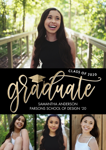 2020 Graduation Announcements Flat Matte Photo Paper Cards with Envelopes, 5x7, Card & Stationery -Graduate 2020 Modern Script by Tumbalina