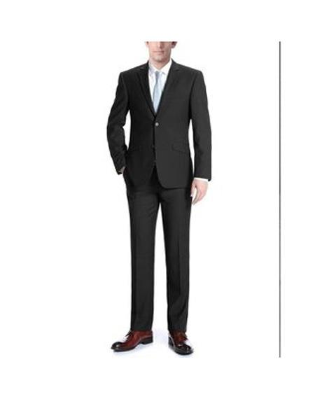 Mens Black Two Buttons Single breasted Classic Fit Polyester Suit