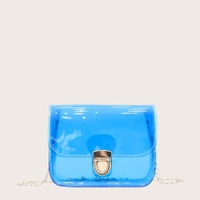 Clear Push Lock Crossbody Bag