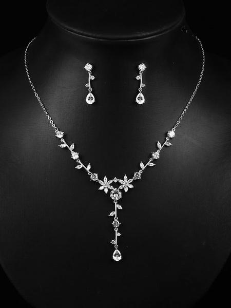 Milanoo Wedding Jewelry Set Earrings Necklace Set Silver Cubic Zirconia Bridal Accessories