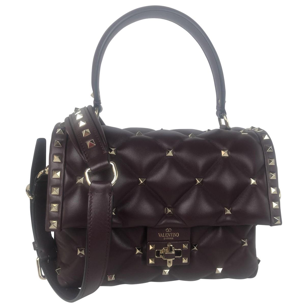 Valentino Garavani CandyStud Burgundy Leather handbag for Women \N