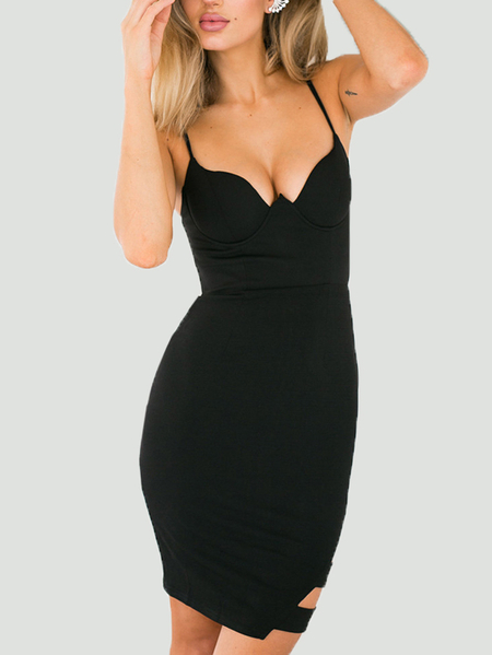 Yoins Black Cut Out Sleeveless Cami Mini Dress