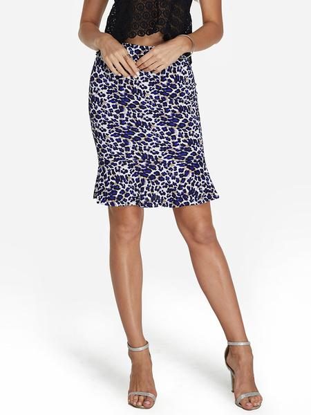 Yoins Blue Leopard Pattern Flounced hem Skirt