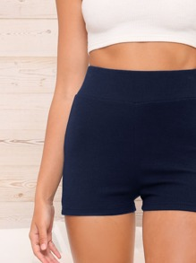 Wide Waistband Solid Rib-knit Shorts