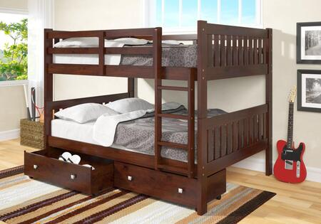 1015-3FFCP_505-CP Full/Full Mission Bunk Bed With Dual Underbed Drawers in Dark Cappuccino