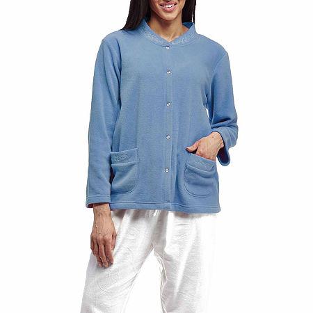 La Cera Plus Size Snap Front Fleece Bedjacket - Plus, 1x , Blue