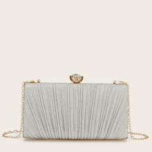 Ruched Design Chain Clutch Bag