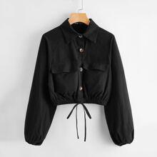 Crop Jacke mit Taschen Klappen vorn, Knoten und Laternenaermeln