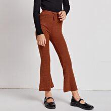 Girls Knot Waist Rib-knit Flare Leg Pants