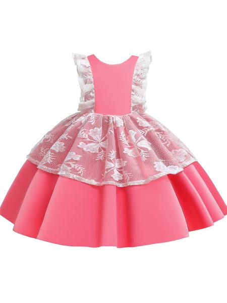 Milanoo Flower Girl Dresses Jewel Neck Tulle Sleeveless Knee Length Princess Silhouette Bows Kids Social Party Dresses