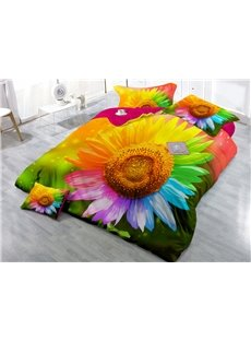 Sunflower with Colorful Petals Wear-resistant Breathable High Quality 60s Cotton 4-Piece 3D Bedding Sets