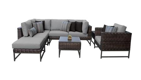 Barcelona BARCELONA-08m-BRN-GREY 8-Piece Patio Set 08m with 2 Corner Chairs  1 Club Chair  2 Armless Chairs  1 Ottoman and 2 End Tables - Beige and