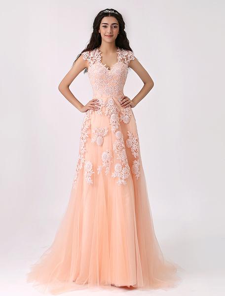 Milanoo Vestido de novia de color desnudo de tul con escote transparente y capas