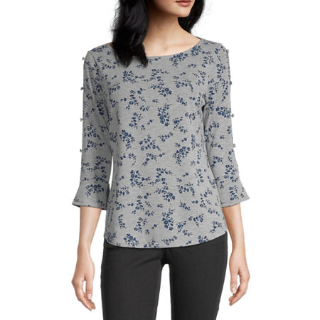 Liz Claiborne Womens Crew Neck Elbow Sleeve Knit Blouse, X-large , Gray