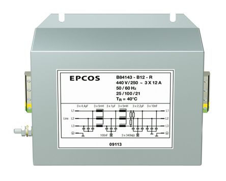 EPCOS , B84143B*R000 25A 440 V ac 50 → 60Hz, Screw Mount RFI Filter, Terminal Block 3 Phase