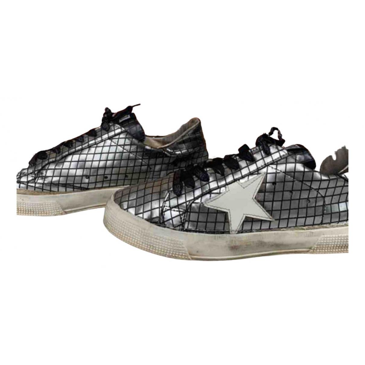 Golden Goose May Sneakers in  Silber Leder