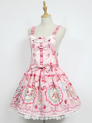 Milanoo Sweet Lolita JSK Jumer Skirt Neverland Square Neck Ruffles Bunny White Lolita Dress Original Design