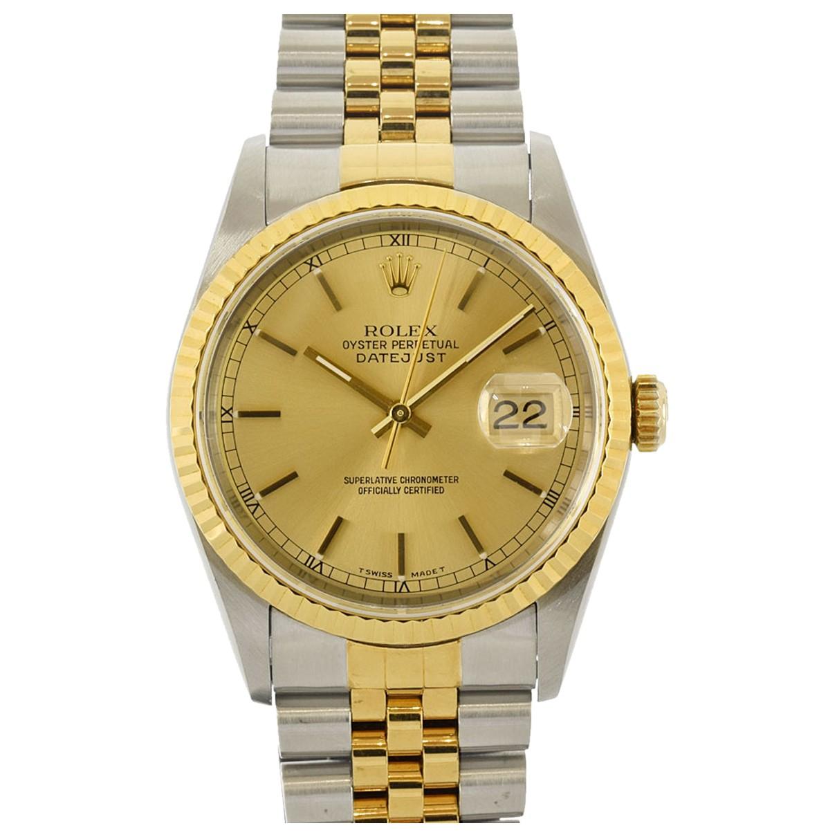 Rolex - Montre Datejust 31mm pour homme en or et acier - dore