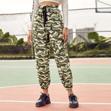 Knot Waist Flap Pocket Side Camo Pants