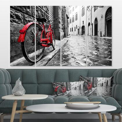 MT9386-271 Retro Vintage Red Bike - Multipanel Cityscape Photo Metal Wall Art - 48X28 - 4
