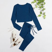 Solid Rib-knit Crop Tee and Knot Waist Leggings Set
