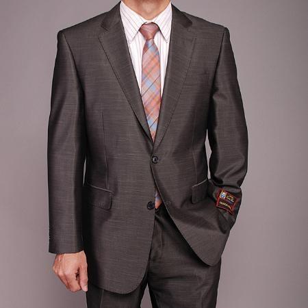 2 Button Shiny Dark Gray Suit Mens Cheap