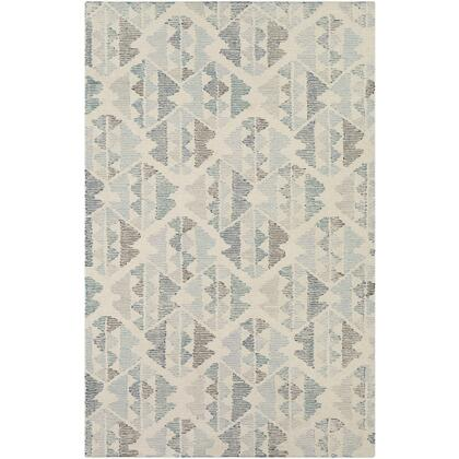 Morse RSE-1000 8' x 10' Rectangle Rustic Rug in White  Pale Blue  Teal  Dark Brown  Light