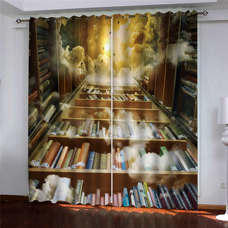 Creative 3D Bookcase Print Blackout Polyester Curtains No Pilling No Fading No off-lining Grommet Tops