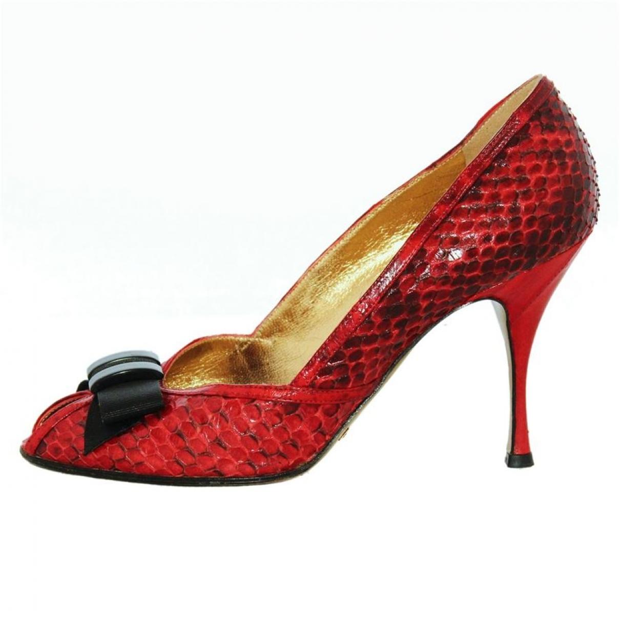 Dolce & Gabbana - Sandales   pour femme en python - rouge