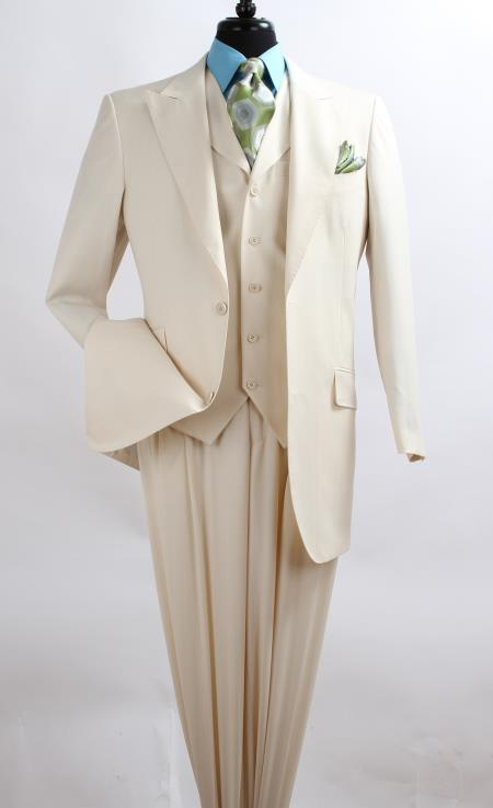 Mens 3 Piece Fashion Suit Wool Feel with Peak Lapel Jacket Off White