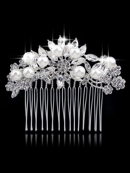Milanoo Silver Pearls Comb Wedding Headpieces Bridal Hair Accessories