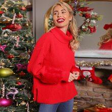 Christmas Split Side Faux Fur Cuff Sweater