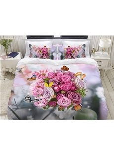 Elegant Pink Roses And Flying Butterflies 3D Printed 4-Piece Polyester Bedding Sets/Duvet Covers