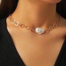 Faux Pearl Decor Chain Necklace
