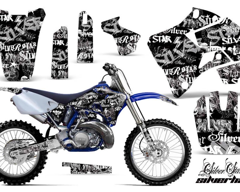 AMR Racing Dirt Bike Graphics Kit Decal Sticker Wrap For Yamaha YZ125 YZ250 1996-2001áSSSH WHITE BLACK