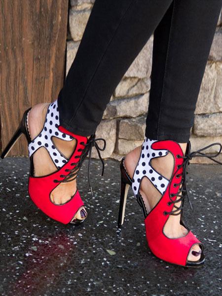 Milanoo High Heel Sandals Womens Polka Dot Lace Up Peep Toe Stiletto Heel Sandals