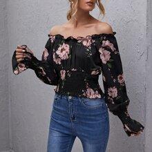 Schulterfreies Crop Top mit Ruesche und Blumen Muster