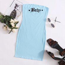 Strick Tube Kleid mit Buchstaben & Herzen Stickereien